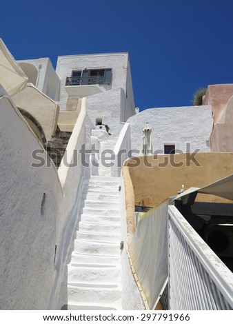 details of Santorini island Greece - beautiful typical house with white walls and blue sea - stock photo