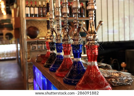 Details of shisha in the arabic cafe - stock photo