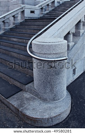 Details of steps, Beautiful old Church in Quebec, Canada - stock photo