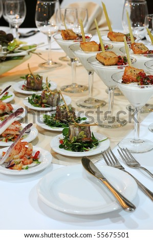Details of the banquet table prepared for a party. - stock photo