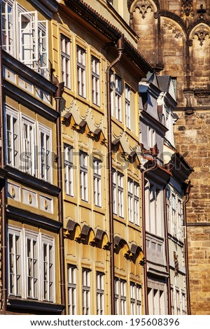 Details of the baroque facades in the streets of Prague,nearby Charles bridge, low angle view - stock photo