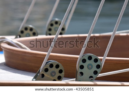 Details of the cockpit of an old sailing boat - stock photo