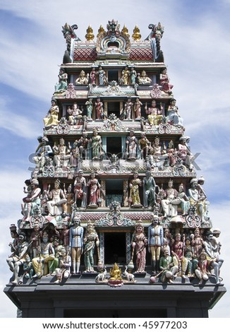 Details of the decorations on the roof of the Sri Mariamman Hindu temple, Singapore
