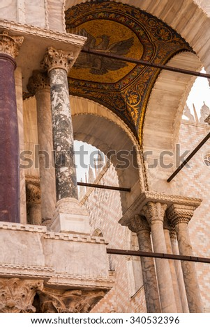 Details of the exterior of the Basilica of San Marco , Venice , Veneto , Italy - stock photo