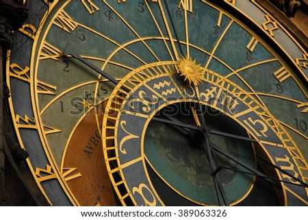 Details of the famous astronomical clock in Prague (Czech republic)