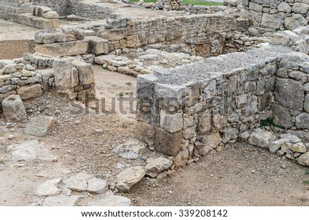 Details of the Greek ruins of Empuries in Girona - Spain