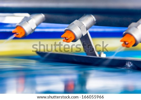 details of the machine,drinks production plant in China - stock photo