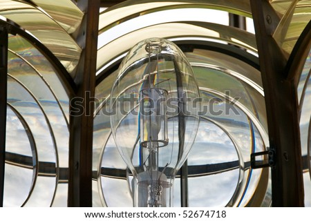 Details of the machinery of a lighthouse. - stock photo