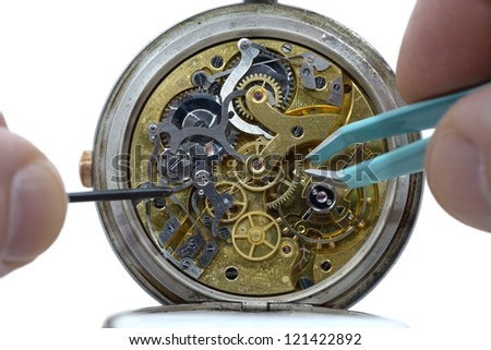 details of the mechanism inside an old watch - stock photo