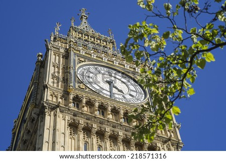 Details of the newly named Elizabeth Tower at the Houses of Parliament in London - stock photo