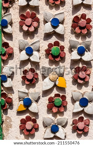 details of the ornaments in the wat phra kaew temple, Bangkok, Thailand - stock photo