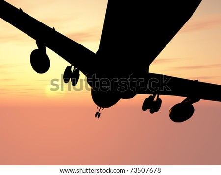 Details of the plane against a picturesque sunset