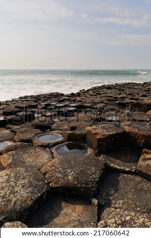 Details of the rocks in Giants Causeway. Northern coast of County Antrim, Northern Ireland. - stock photo