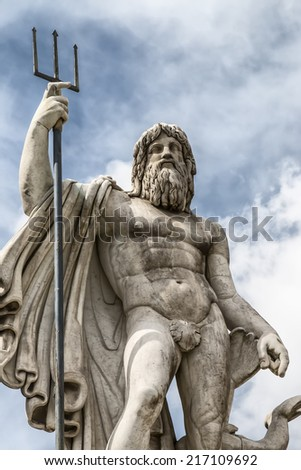 Details of the statue of Neptune in Piazza del Popolo, Rome, Italy - stock photo
