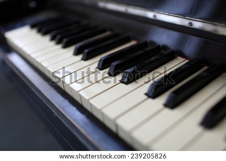 Details of the vintage classical piano keys - stock photo