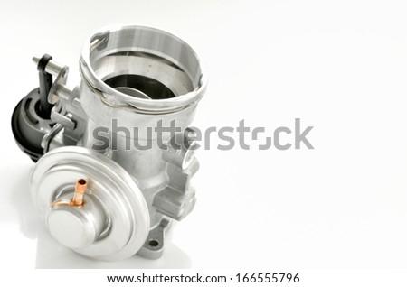 details of throttle isolated on white background - stock photo