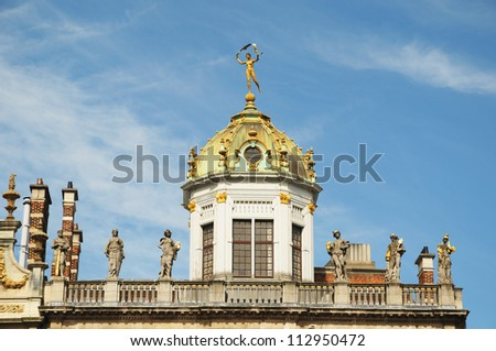 Details of top of Le Roi d'Espagne historical building on Grand Place in Brussels, Belgium in clear day - stock photo