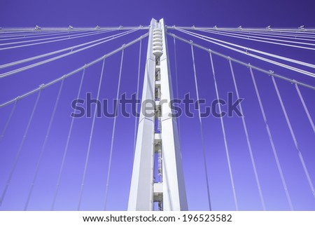 Details of tower and suspension cables of the new San Francisco-Oakland  Bay Bridge - stock photo