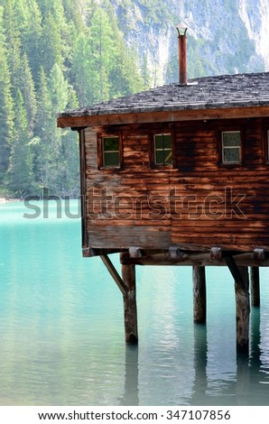 Details of typical stilt house situated at braies Lake in the Dolomites, Italy Unesco World Heritage Landmark - stock photo