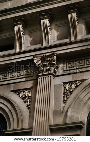 Details of very ornate Sandstone building with intricate carved features