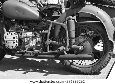 Details of vintage classic motorcycle in black and white - stock photo