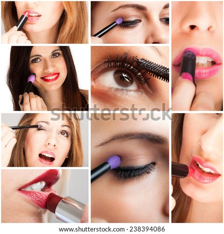 Details of women applying make-up - stock photo