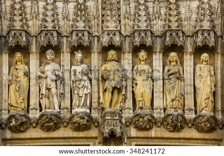 details stone carved at The Grand Place in Brussels, - stock photo