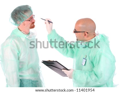 Details two surgeon with documents and pencil