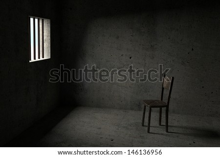 Detained - Interior Of A Prison Cell - stock photo