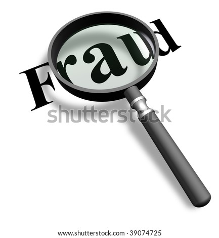 Detecting frauds with a magnifying glass - stock photo