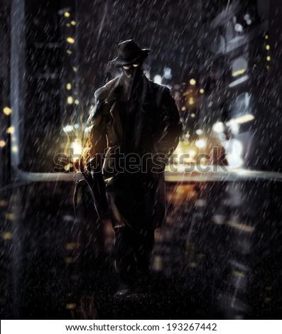 Detective. Noir detective walking a night city lights. - stock photo