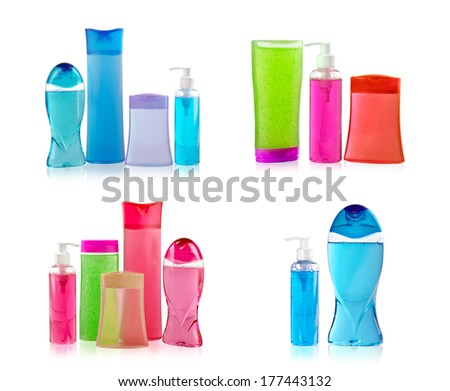 Detergent bottles isolated on white - stock photo