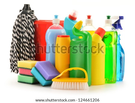 Detergent bottles isolated on white. Chemical cleaning supplies isolated on white