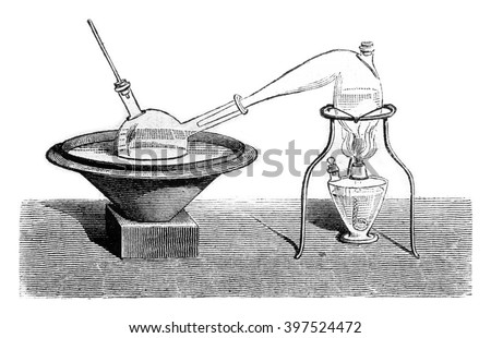 Determination of alcohol in the beer, vintage engraved illustration. Magasin Pittoresque 1869. - stock photo