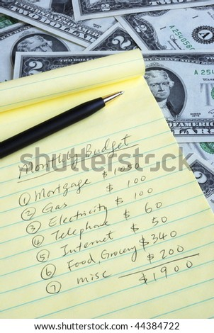 Determine the monthly budget for our home - stock photo
