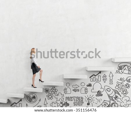 determined businesswoman climbing a carrer ladder, businessicons drawn under the ladder, white background, concept of success and career growth - stock photo