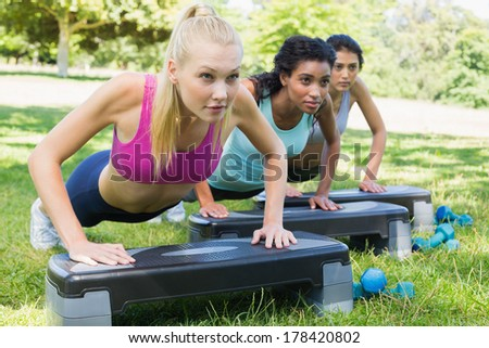 Determined sporty multiethnic women doing step aerobics in park - stock photo
