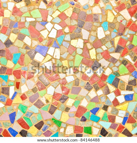 Detiled textured image of a colorful mosaic