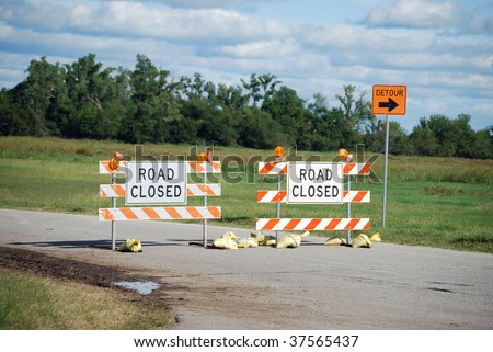 Detour Road Closed - stock photo