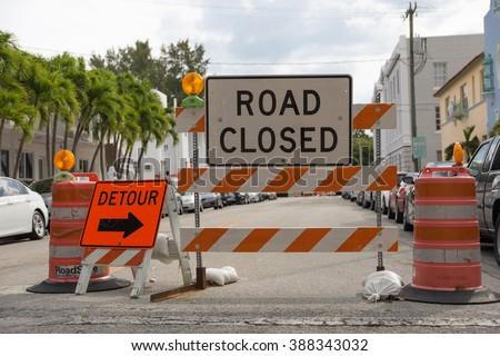 Detour - Road closed - Traffic sign  - stock photo