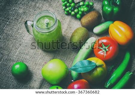 Detox juice and healthy organic.Detox superfood.vintage stylization. - stock photo