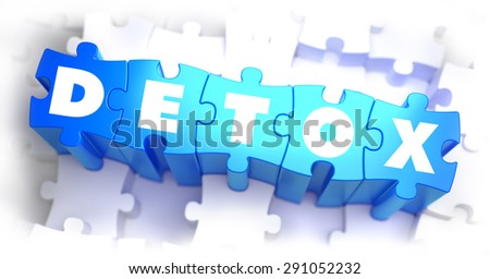 Detox -White Word on Blue Puzzles on White Background. 3D Illustration. - stock photo