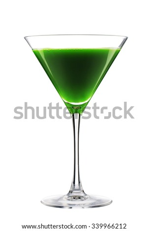 Detoxing organic green cocktail isolated on white background