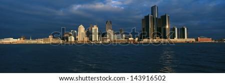 Detroit at sunrise, MI - stock photo