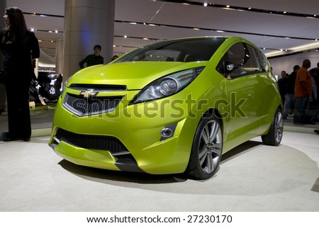 DETROIT - JAN 12 : Chevrolet Spark concept on display at the North American International Auto Show on January 12, 2009 in Detroit, Michigan. The annual event is among the largest auto shows in North America. - stock photo