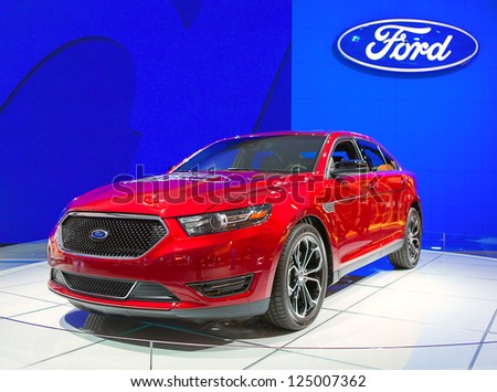 DETROIT - JANUARY 15 : A Ford crossover vehicle at The North American International Auto Show  January 15, 2013 in Detroit, Michigan. - stock photo