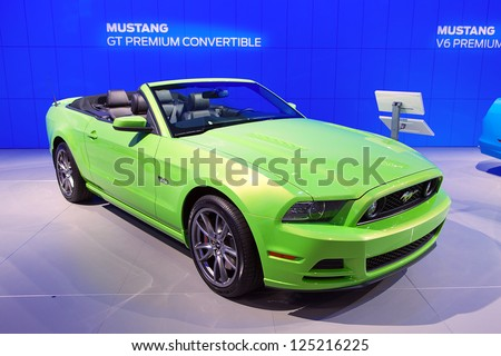 DETROIT - JANUARY 14 : A Ford Mustang convertible on display at The North American International Auto Show  January 14, 2013 in Detroit, Michigan.