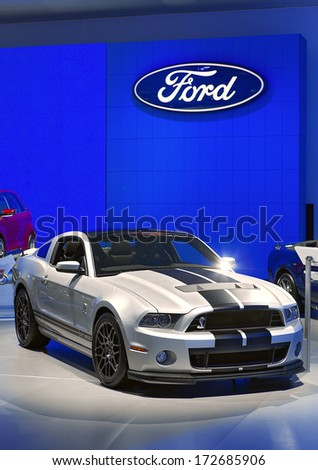DETROIT - JANUARY 16 : A 2015 Ford Mustang GT500 Cobra on display at the North American International Auto Show media preview  January 16, 2014 in Detroit, Michigan. - stock photo