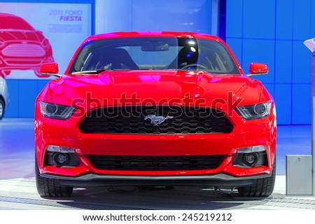 DETROIT - JANUARY 12: A Ford Mustang on display January 12th, 2015 at the 2015 North American International Auto Show in Detroit, Michigan. - stock photo