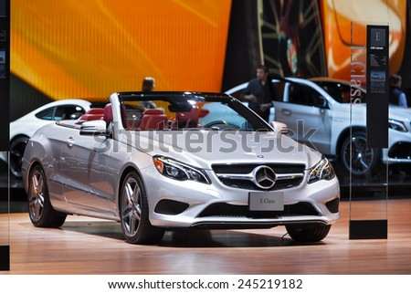 DETROIT - JANUARY 13: A Mercedes E400 Cabriolet on display January 13th, 2015 at the 2015 North American International Auto Show in Detroit, Michigan. - stock photo